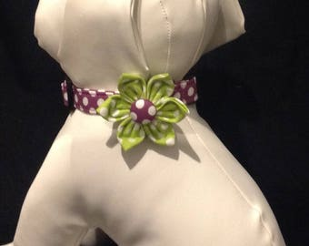 Dog Collar Flower Set - Puple/Plum Polka Dots - Size XS, S, M, L, XL