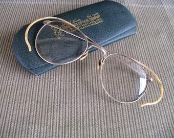vintage eyeglasses frames gold original hinged case, man woman, 1940's