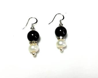 navy goldstone gemstone earrings white freshwater pearl jewelry hypoallergenic nickel free earrings dark midnight blue beaded jewelry