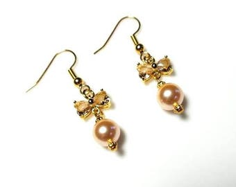 peach Swarovski pearl butterfly wing gold earrings hypoallergenic nickel free earrings insect nature dangle drop jewelry gifts for her
