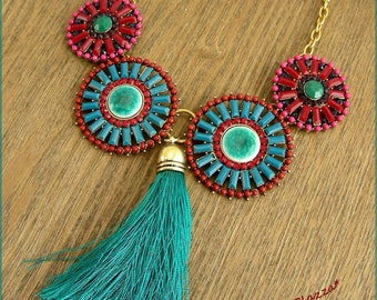 Multicolor bib necklace - medallions, ceramic, beads and tassel