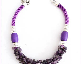 Rope necklace and Amethyst - purple cord, silver metal beads