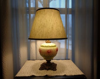 Vintage Victorian Style Table Lamp, Patterned Milk Glass GWTW Style Lamp