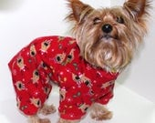 Christmas Dog Pajama Onesie, XS S M - Cute Red with Reindeer Dog Onesies Pajamas, Fashion Dog Clothing