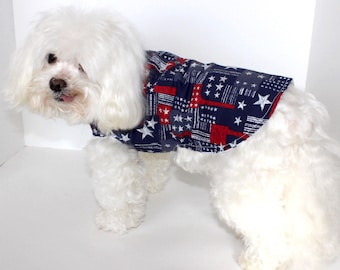 Americana Dog Shirt, Fun Small July 4th Reversible Stars and Stripes Dogs Wrap, In Stock fashion dog clothes