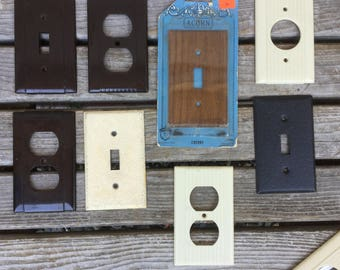Electric Outlet Covers, Wood Grain Light Switch Plate, Brown Bakelite
