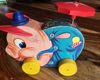 Fisher Price Pinky Pig 1950's Pull Toy