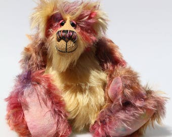 Humphrey Potterton, an appealingly wild and friendly one of a kind artist teddy bear in stunning hand dyed mohair by Barbara-Ann Bears