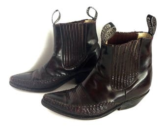 Calexico Botines 9 or 10, Brown Mahogony Cowboy Ankle Boots 9 or 10 Calexico Ankle Brown Mahogony Riding Boots, Unisex Cowboy Boots 9 or 10