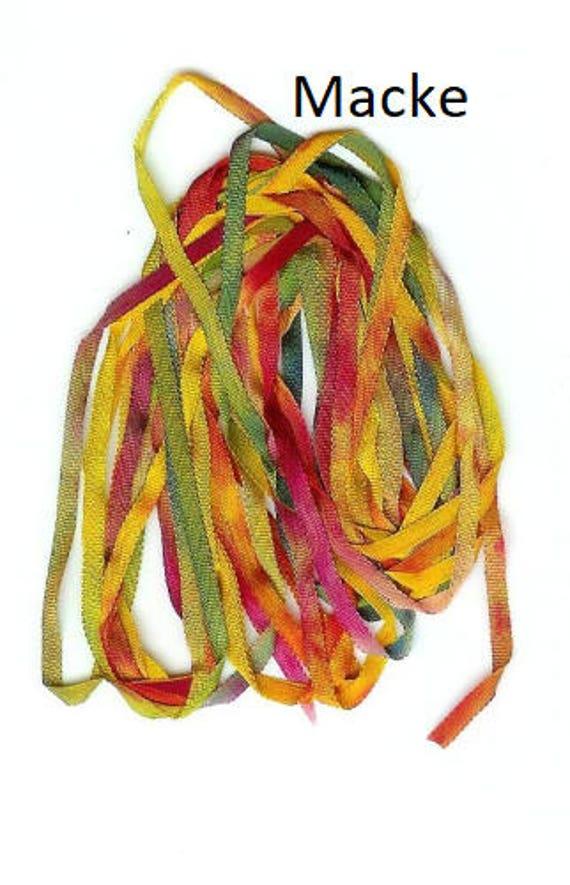 Silk ribbon for the miniature handmade, color Macke, Frida, Picasso, Georgia, Grandma Moses, Renoir, Gabriele, Dollhouse Miniatures