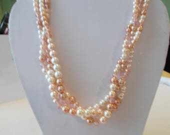 Ecru and Amber Sea Shell Pearl Twisted Necklace with Amber Crystal Beads