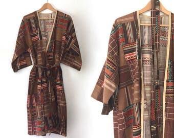 vintage 70s hippie jacket robe boho jacket southwestern jacket wrap coat southwestern robe kimono southwestern coat boho festival wear gypsy
