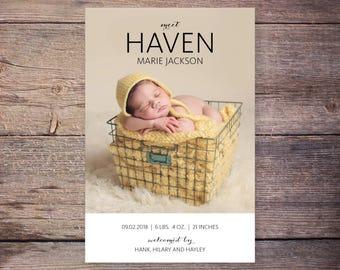 Printable Birth Announcement, Script Baby Announcement, Introducing New Baby Announcement, Baby Stats, Printable – Haven