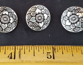 Three Silvertone Buttons Hearts & Flowers