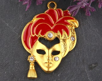 Red, Enamel Mask Pendant with Rhinestone Crystal Bead Embellishment, Mask Pendant, Mask Jewelry, 1 piece // GP-503