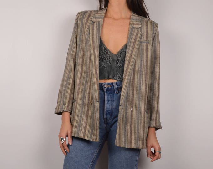 Vintage Neutral Striped Blazer