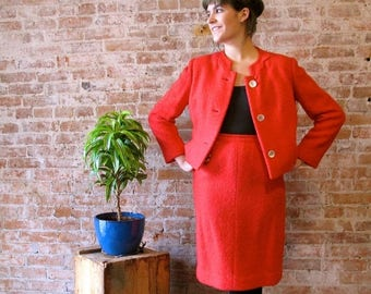 50% Off Wool Sale Vintage Tomato Red Wool Suit 1960s boucle mad men wiggle skirt