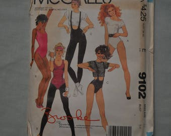 1980's Brooke Shields Exercise Pattern - Leotards, Tights & T-Shirt - Size 12 - UNCUT -McCall's 9102
