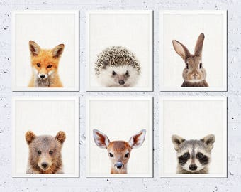 Woodland Nursery Decor, Baby Animals Print Set of 6, Bunny Fox Bear Deer, Woodland Nursery Kids Baby Room Decor, Modern Printable Wall Art