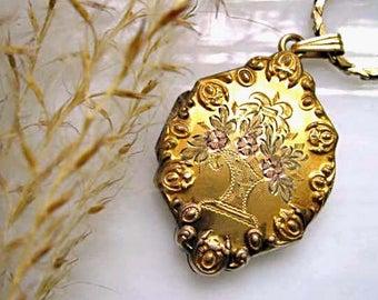 Vintage Flower Basket Locket, Goldfilled Victorian Floral Bouquet Photo Pendant, Ornate Scalloped Raised Border, Three Tone Gold