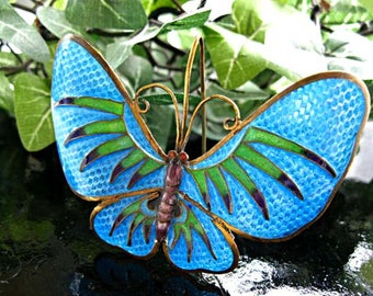 Blue Butterfly Brooch Plique a Jour Enamel Stickpin, Chinese Export Brass Silver, Oriental Asian Brooch, Green Purple Enamel on Blue Wings