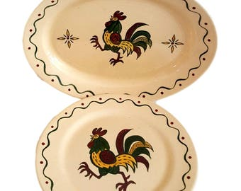 Vintage Chicken California Provincial Poppytrail Platter and 1 Plate / Metlox Vernon / Farmhouse Decor