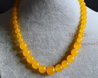 yellow jade gradually necklace, single strand jade necklace,bridesmaid necklace,women necklace,statement necklace, yellow bead necklace