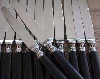 12 Christofle Magnificent French Ebony Handled Vintage knives, Christofle dinner knives, Christofle ebony knives, Signed French cutlery