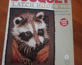 Rare Vintage Bouquet Raccoon Latch Hook Rug Kit // Vintage Latch Hook //