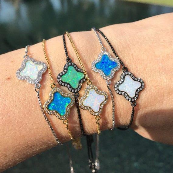 Blue Opal bracelets, boho jewelry, opal jewelry, October birthstone, birthstone jewelry, white opal, green opal