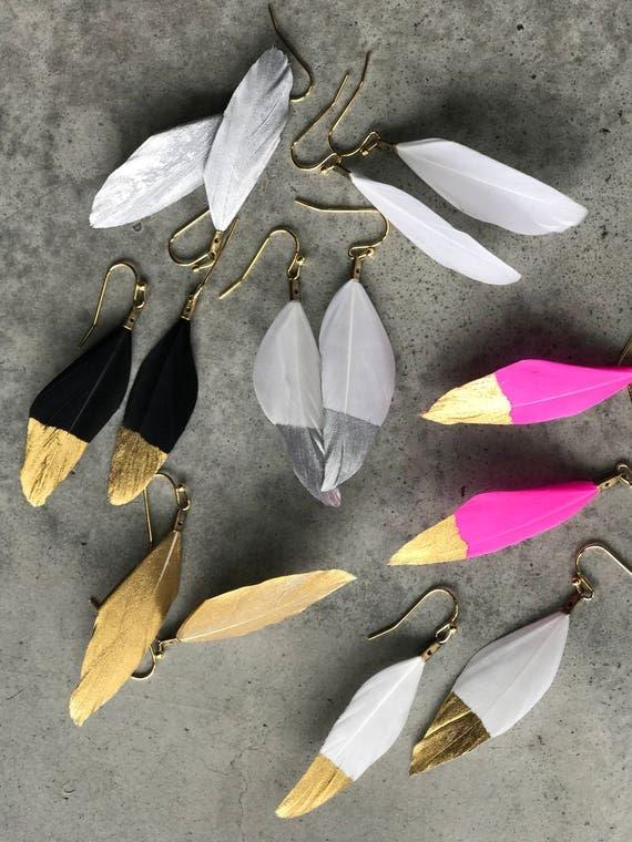 Gold dipped Feathers earrings, boho jewelry, festival fashion, boho wedding