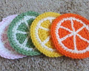 Citrus Fruits Crochet Coasters (set of 4)