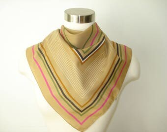 Vintage Square Tan Stripe Patterned Scarf  - Autumn Fall  Scarves - Womens Accessories 1970s