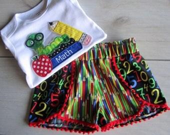 Back To School Short Set/Coachella Style Shorts/Caterpillar and Pencil Short Set