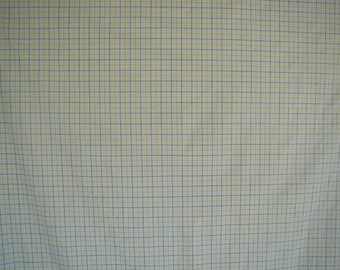 Vintage Ralph Lauren Bed Sheets,  Queen Bed Size, 1 Flat Sheet, 1 Fitted Sheet, Navy Blue and Yellow Windowpane Plaid