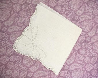 Vintage White Lace Wedding Hankie Bridal Embroidery Bride Flower Girl Bridesmaids