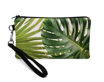 Palm Leaf iPhone Wristlet, Galaxy S8 Purse, Cell Phone Wristlet Bag, Monstera iPhone 7 Plus Case, Jungle Coupon Wallet - tropical palm leaf