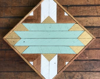 "Reclaimed Lath Wood Southwest Wall Art 13""x 13"" Sage Green/Gold/White"