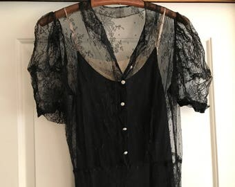 Amazing 1930s Floral Lace Black Dress Gown, Bias Cut, Wedding, Formal Dress