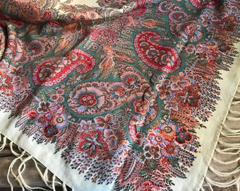 Antique Wool Paisley Shawl, Scarf, Table Runner, Throw, Piano Shawl, Tablecloth, 19th C Victorian