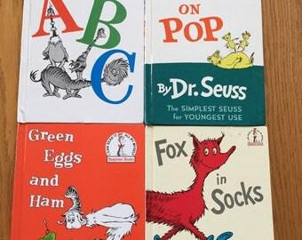 Dr. Seuss Book Lot / 4 Vintage Dr Seuss Books Hop on Pop, Fox in Socks, Green Eggs & Ham, Dr. Seuss's ABC