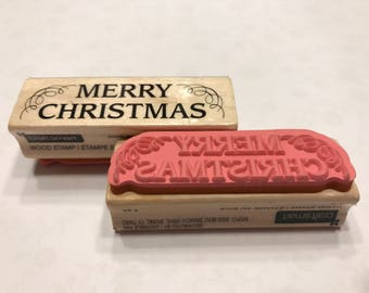 Merry Christmas rubber stamp, 70 mm (BB1/1)