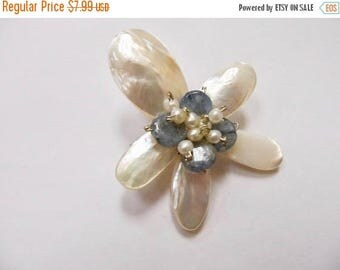 ON SALE Retro Mother of Pearl and Stone Floral Pin Item K # 2609
