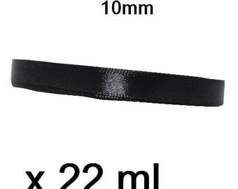 1 roll Black 10mm by 22 metres satin ribbon