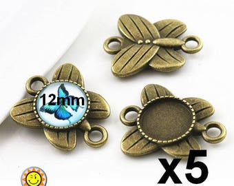x 5 connectors 12mm bronze cabochon holder Butterfly fantasy