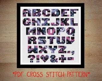 Galaxy alphabet cross stitch pattern - counted cross stitch, printable PDF