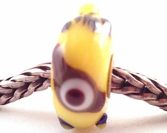 murano lampwork glass bead SRA artist handmade euro big hole bead lined Sterling Silver Made To Order - minion bead - S846