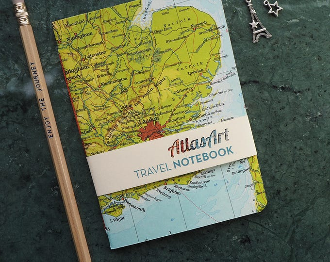 NOTEBOOK SMALL, Great Britain, England, London, Queen, 4x5,8inch, 32 p., plain/ruled, travel journal, diary, atlas, map, vintage, upcycling