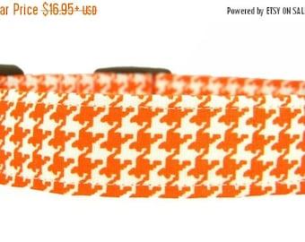 ON SALE READY to Ship- Dog Collar, Pet Collar, Houndstooth Dog Collar, Orange Dog Collar: Tangerine Houndstooth