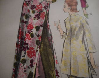 Vintage 1960's Vogue 5866 Special Design Housecoat, Tunic, Blouse, Pants and Sash Sewing Pattern, Size 16 Bust 36